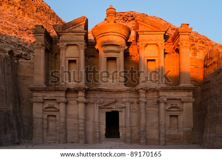 The famous Ad Deir, often also refered to as Monastery, in the ancient nabbatean city of Petra in todays Jordan at sunset.