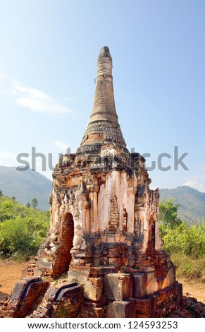 The famous ancient ruins temples of Indein in Myanmar, Asia