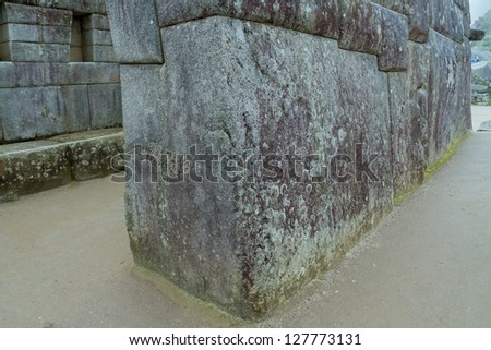 The famous  32 angles stone in ancient Inca architecture, Machu Picchu, Peru