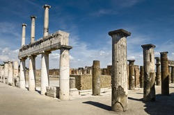 The famous antique site of Pompeii, near Naples in Italy. This is part of the forum.It was completely destroyed in 79BC by the eruption of Mount Vesuvius.