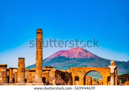 The famous antique site of Pompeii, near Naples. It was completely destroyed by the eruption of Mount Vesuvius. One of the main tourist attractions in Italy. #569944639
