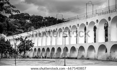 The famous arches of lapa in the city of Rio de Janeiro, Brazil./ Lapa Arches./ The famous arches of the barn. #667540807