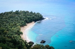 The famous banana beach on the beautiful island of Principe, São Tomé and Príncipe