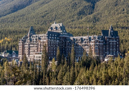 The famous Banff Springs Hotel, located in Banff National Park, Alberta, Canada