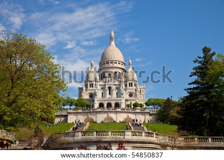 The famous basilica of Sacre-Coeur in Montmartre, Paris.