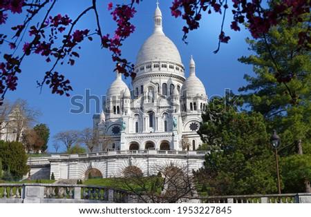 The famous basilica Sacre Coeur , Paris, France. Photo stock ©