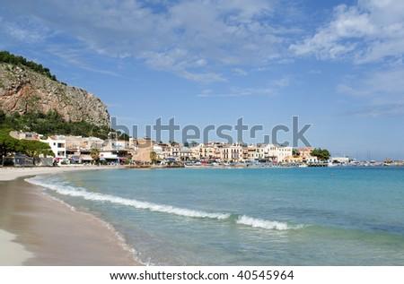 """The famous beach of """"Mondello"""" in Sicily"""
