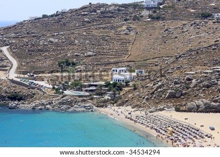 The famous beach of Super Paradise, in Mykonos island, Greece