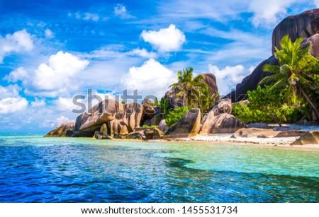The famous beach, Source d'Argent at La Digue Island, Seychelles
