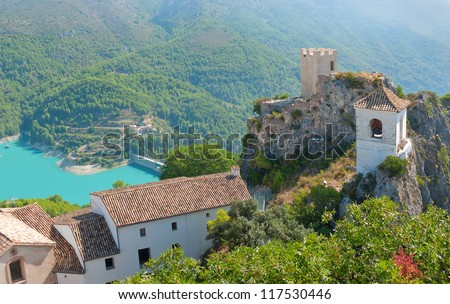 The famous Bell Tower and Gateway at Guadalest near Benidorm in Spain, horizontal