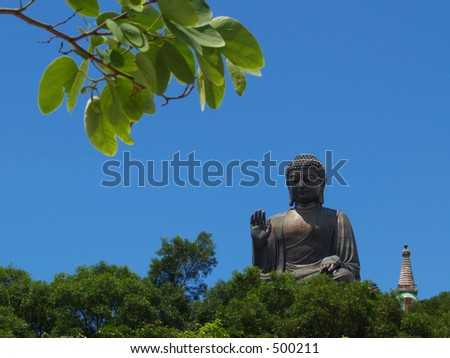 The Famous Big Buddha at Lantau Island, Hong Kong - stock photo