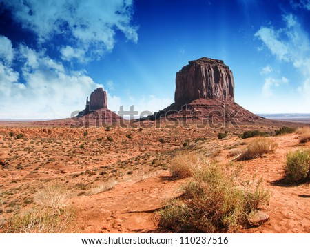 The famous Buttes of Monument Valley at Sunset, Utah, USA - stock photo