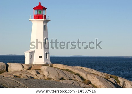 The famous Canadian iconic symbol of the Peggy's Cove Lighthouse in Nova Scotia.