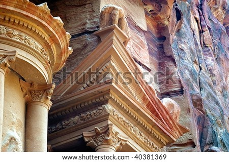 The famous carved mountain treasury of petra Jordan