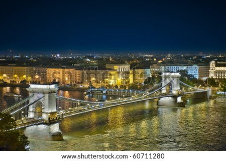 The famous Chain bridge in Budapest. Night panorama.