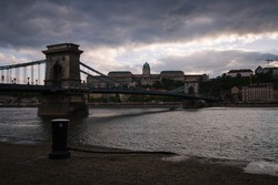 The famous Chain bridge with the castle in the background, Budapest, Hungary