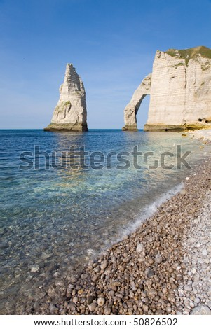 The famous cliffs at Etretat from the rocky beach