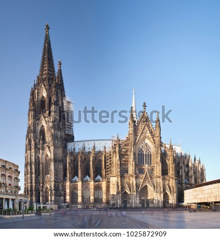 The famous Cologne Cathedral. Square composition stitched from two ultra wide angle long exposure shots. #1025872909
