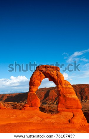 The famous Delicate Arch of Arches National Park.