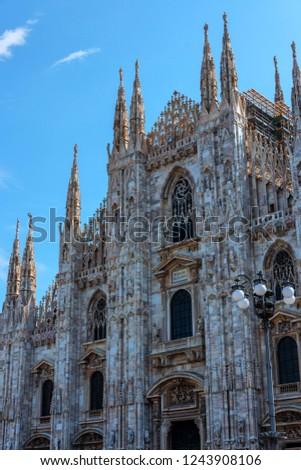 The famous Duomo di Milano and city of Milano, Italy #1243908106