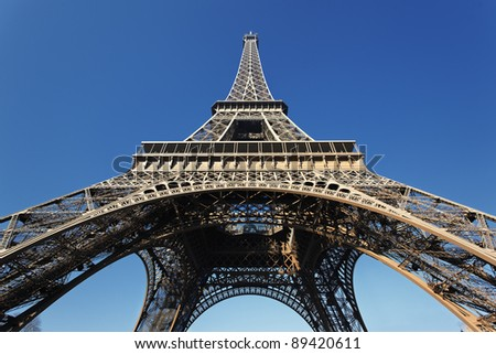 The famous Eiffel tower with blue sky in Paris