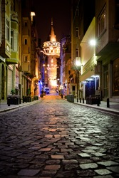the famous Galata-Tower of Istanbul (Turkey) at night