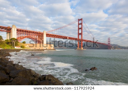 The famous Golden Gate Bridge in San Francisco California from the east