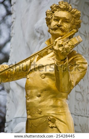 the famous golden memorial of johann strauss which is located in the vienna city park in the first district of vienna