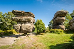 The famous Idol Rock / Brimham Rocks on Brimham Moor in North Yorkshire are weathered sandstone, known as Millstone Grit,creating some dramatic shapes, many of which have been named