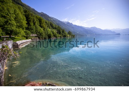 The famous Lake Brienz in the Bernese Alps of Switzerland #699867934
