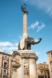 The famous lava stone statue of an elephant called Liotru with obelisk at Duomo square in Catania, Sicily. The Liotru is the main symbol of the city