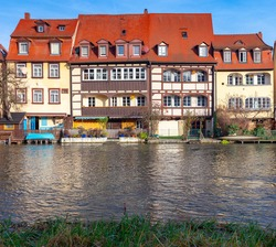 The famous Little Venice district in the old town. Bamberg. Bavaria Germany.