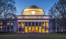 The famous Massachusetts Institute of Technology in Cambridge, MA, USA at sunset. Photo of the main building in neoclassic architecture.