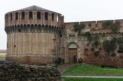 The famous medieval Rocca Sforzesca in Imola, Bologna, Italy