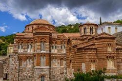 The famous monastery of Hosios Loukas, a historic walled monastery in Greece, part of the list of UNESCO's World Heritage Sites. It is a masterpiece of middle byzantine architecture and art.