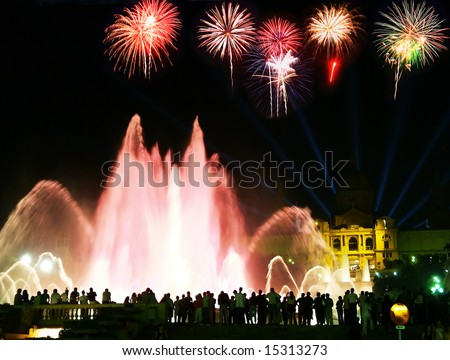 http://image.shutterstock.com/display_pic_with_logo/80276/80276,1216955386,1/stock-photo-the-famous-montjuic-fountain-in-barcelona-with-a-firework-illustration-15313273.jpg