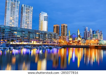 Shutterstock The famous neighborhood of Puerto Madero in Buenos Aires, Argentina at night.