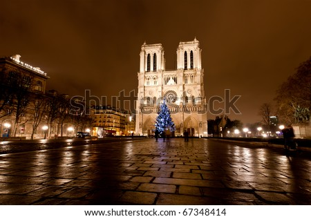 The famous Notre Dame at night in Paris, France - stock photo