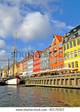 The famous Nyhavn Canal in Copenhagen - stock photo
