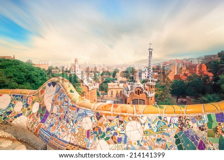 The famous park Guell in Barcelona Spain