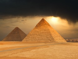 The famous pyramids at Giza in Egypt