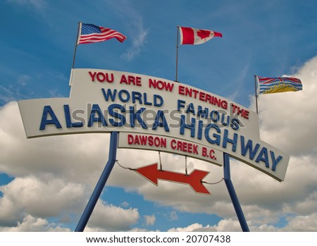 """The famous """"mile 0"""" marker of the start of the Alaska Highway in Dawson Creek, BC Canada - stock photo"""