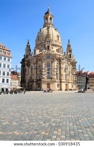 The famous reconstructed Church Frauenkirche in Dresden. Church Of Our Lady - stock photo