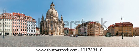 The famous reconstructed Church Frauenkirche in Dresden. Church Of Our Lady