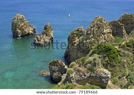"The famous rocks ""Ponte da Piedade"" in South Portugal"