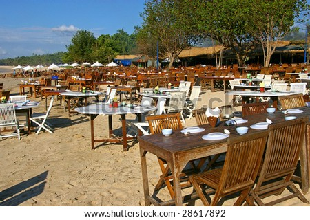 The famous seafood restaurants on Jimbaran beach, Bali, Indonesia.
