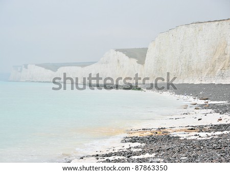 The famous seven sister cliff of Sussex, England in misty air - stock photo