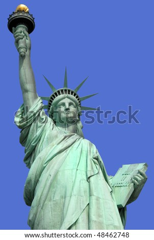 The famous Statue of Liberty on an island in New York City
