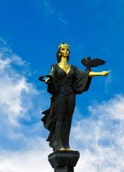 The Famous Statue of St. Sofia in Sofia, Bulgaria. The statue represents Saint Sofia, the goddess protector of the city