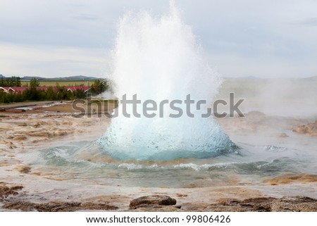 The famous Strokkur geyser in Iceland erupting